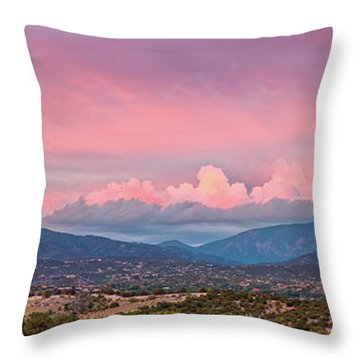 Twilight Panorama Of Sangre De Cristo Mountains And Santa Fe - New Mexico Land Of Enchantment Throw Pillow