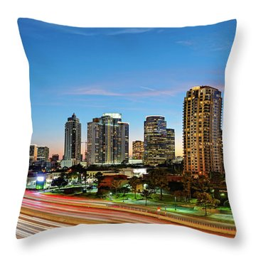 Twilight Panorama Of Uptown Houston Business District And Galleria Area Skyline Harris County Texas Throw Pillow