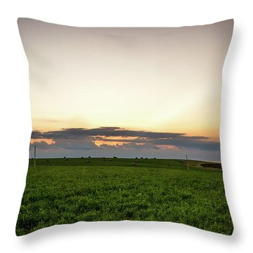 Throw Pillow featuring the photograph Twilight Prince Edward Island Fields by Chris Bordeleau