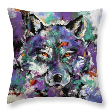 Twilight Purple Wolf Throw Pillow