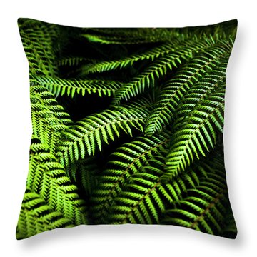 Twilight Rainforest Fern  Throw Pillow