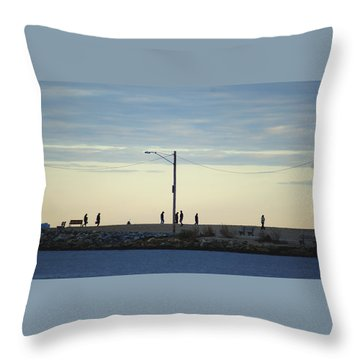 Twilight Shoreline Stroll Throw Pillow by Margie Avellino