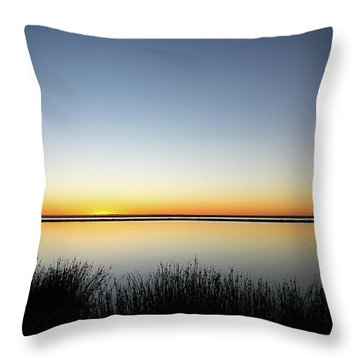 Twilight Stillness Down By The Beach Lagoon Throw Pillow