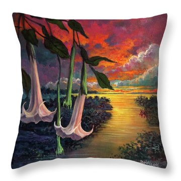 Twilight Trumpets Throw Pillow