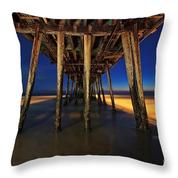 Twilight Under The Imperial Beach Pier San Diego California Throw Pillow