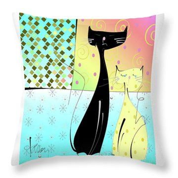 Throw Pillow featuring the mixed media Cattitude by Larry Talley