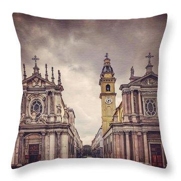 Twin Churches Of Turin  Throw Pillow