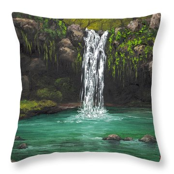 Throw Pillow featuring the painting Twin Falls 2 by Darice Machel McGuire