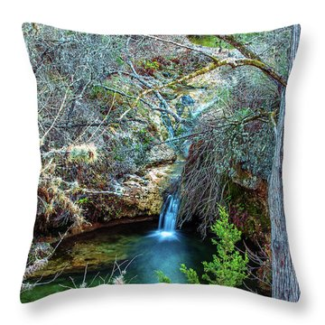 Twin Falls At Peddernales Falls State Park Throw Pillow by Micah Goff