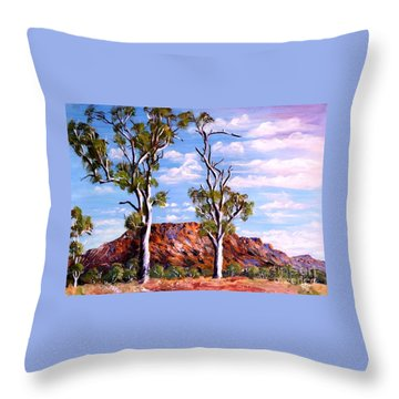 Twin Ghost Gums Of Central Australia Throw Pillow