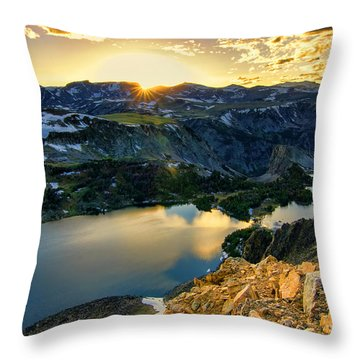 Twin Lakes Sunset Throw Pillow