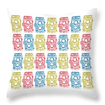Twin Lens Camera Pattern Throw Pillow