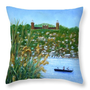 Twin Lights-bastion Of The Highlands Throw Pillow