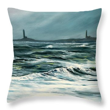 Twin Lights Rockport Ma Throw Pillow by Eileen Patten Oliver
