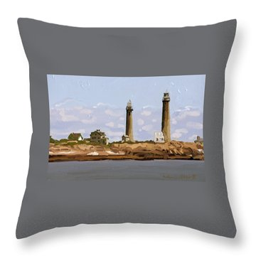 Twin Lights, Thatcher's Island, Rockport, Ma Throw Pillow