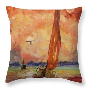 Twin Moons At Sunset Throw Pillow