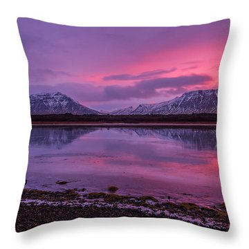 Throw Pillow featuring the photograph Twin Mountain Sunrise by Pradeep Raja Prints