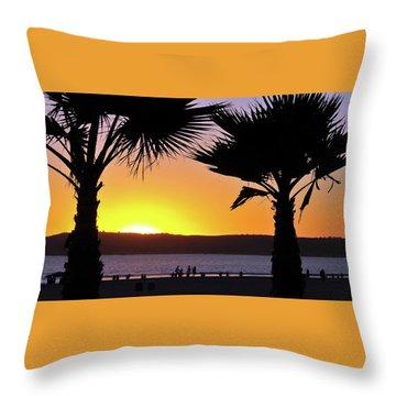 Twin Palms At Sunset Throw Pillow