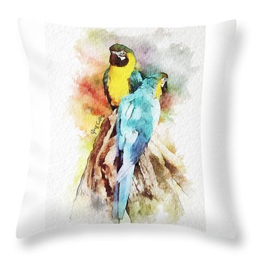 Twin Parrots Throw Pillow
