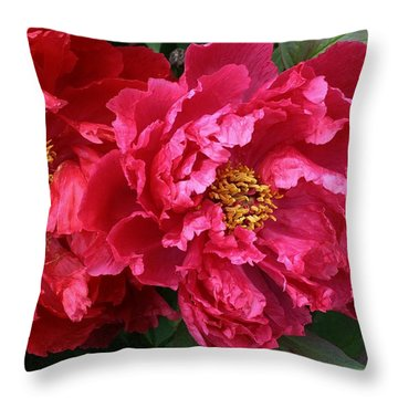 Twin Peonies Throw Pillow