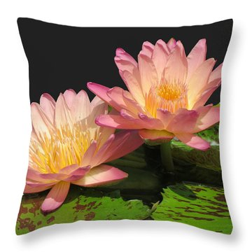 Twin Pink Ilies Throw Pillow