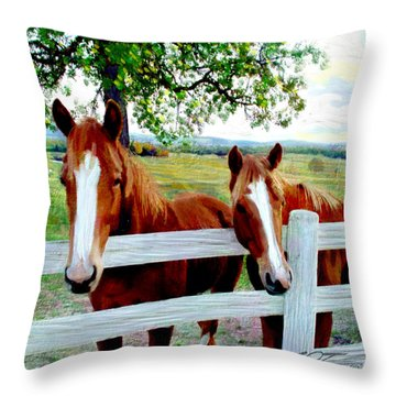 Twin Ponies Throw Pillow