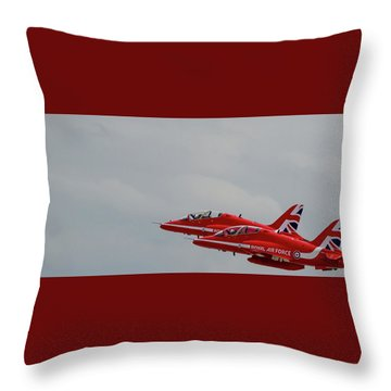 Throw Pillow featuring the photograph Twin Red Arrows Taking Off - Teesside Airshow 2016 by Scott Lyons