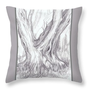 Twin Tree Throw Pillow by Ruth Renshaw