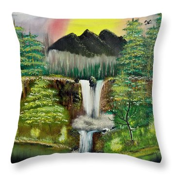 Twin Waterfalls Throw Pillow