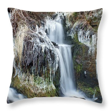 Twin Winter Waterfalls Throw Pillow