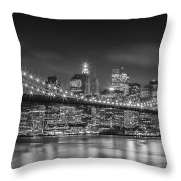 Throw Pillows Magnolia : Twinkle, Twinkle Brooklyn Bridge Photograph by Henk Meijer Photography