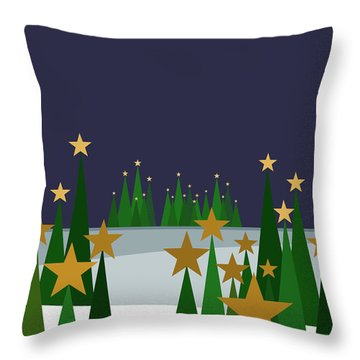 Throw Pillow featuring the digital art Twinkling Forest Trees by Val Arie