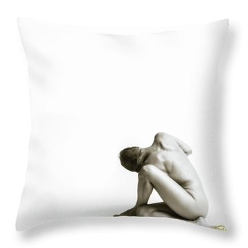 Throw Pillow featuring the photograph Twisted Figure On White by Rikk Flohr