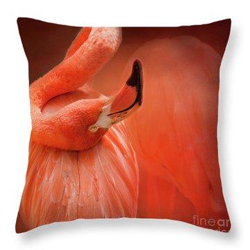 Twisted Flamingo Throw Pillow
