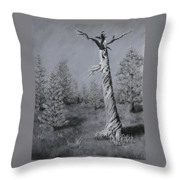 Throw Pillow featuring the painting Twisted by Nancy Jolley