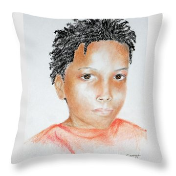 Twists, At 9 -- Portrait Of African-american Boy Throw Pillow