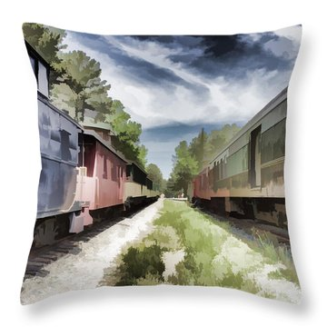 Twixt The Trains Throw Pillow