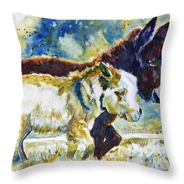 Throw Pillow featuring the painting Two Amigos by P Maure Bausch