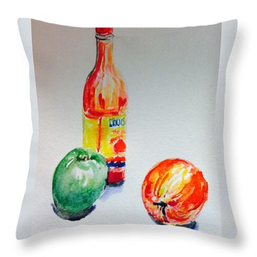 Two Apple And Hot Sauce  Throw Pillow by Hae Kim