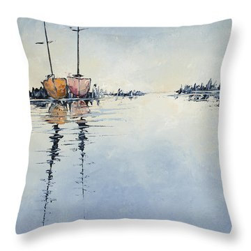 Two At Rest Throw Pillow by Carolyn Doe