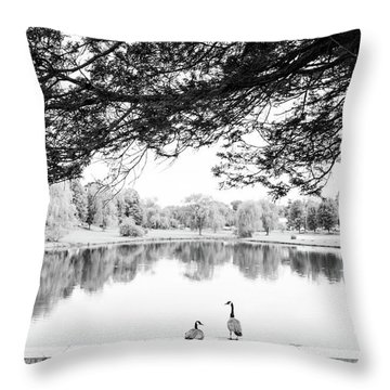 Throw Pillow featuring the photograph Two At The Pond by Karol Livote