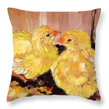 Two Baby Cornish Chicks Throw Pillow