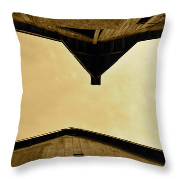 Two Barns In Sepia Throw Pillow
