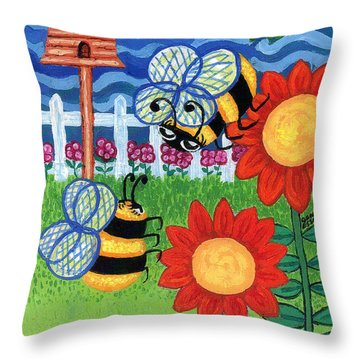 Two Bees With Red Flowers Throw Pillow by Genevieve Esson