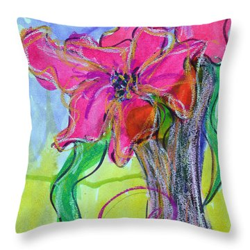 Two Big Pink Blooms Throw Pillow