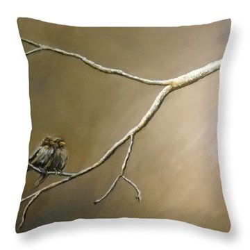 Two Birds On A Branch Throw Pillow