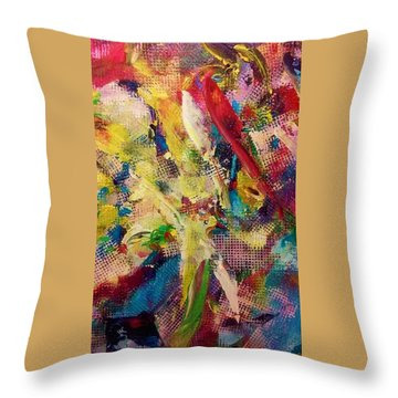 Throw Pillow featuring the painting Two Birds by Ray Khalife