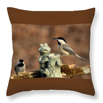 Two Black-capped Chickadees And Frog Throw Pillow by Sheila Brown