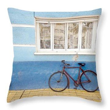 Two Blue Bikes Throw Pillow