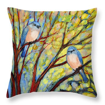 Two Bluebirds Throw Pillow